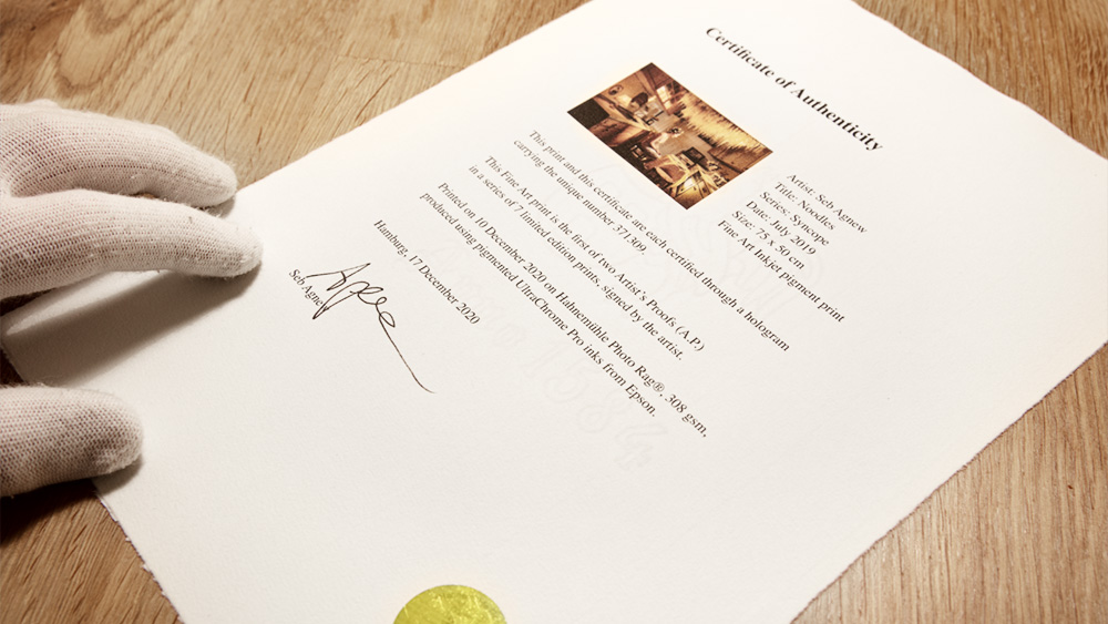 Seb Agnew | Certificate of Authenticity
